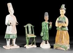 Three Chinese Glazed Pottery Attendants