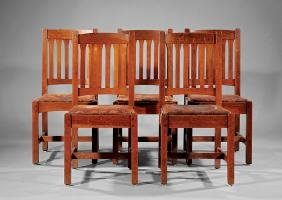 Five Arts & Crafts Oak Dining Chairs