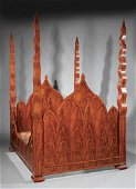 American Gothic Figured Mahogany Four-Post Bed