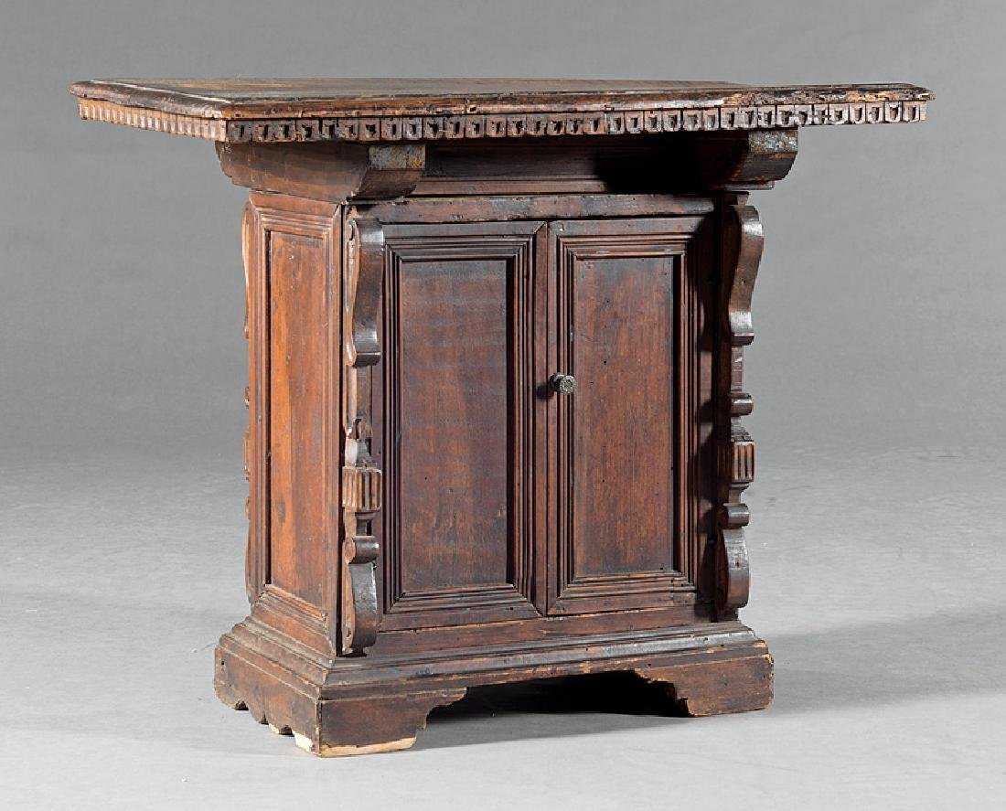 Italian Baroque Carved Walnut Table-Top Cabinet