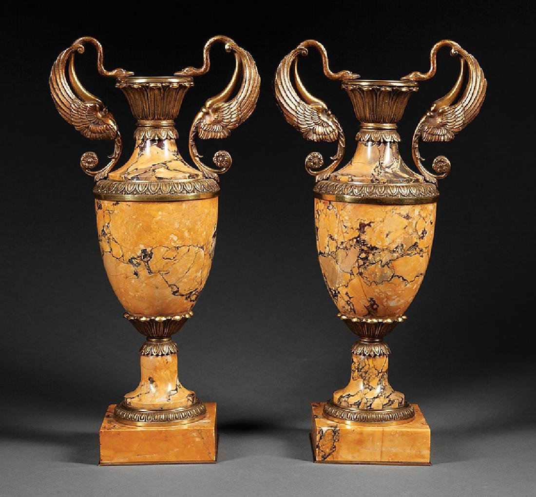 French Gilt Bronze-Mounted Sienna Marble Urns
