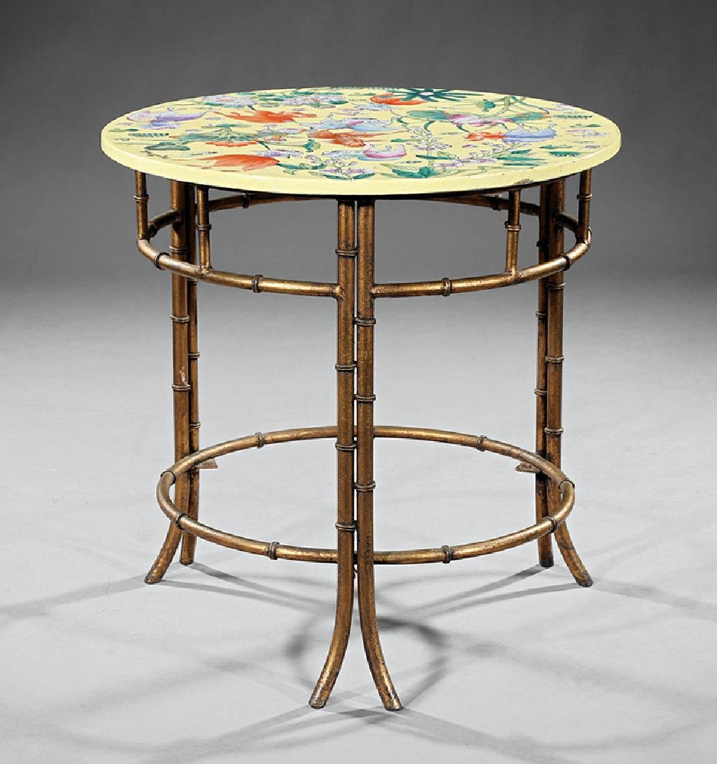 Chinese Porcelain and Gilt Metal Side Table