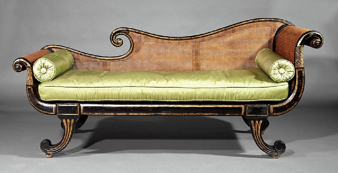 Regency Painted, Parcel Gilt, Caned Grecian Sofa