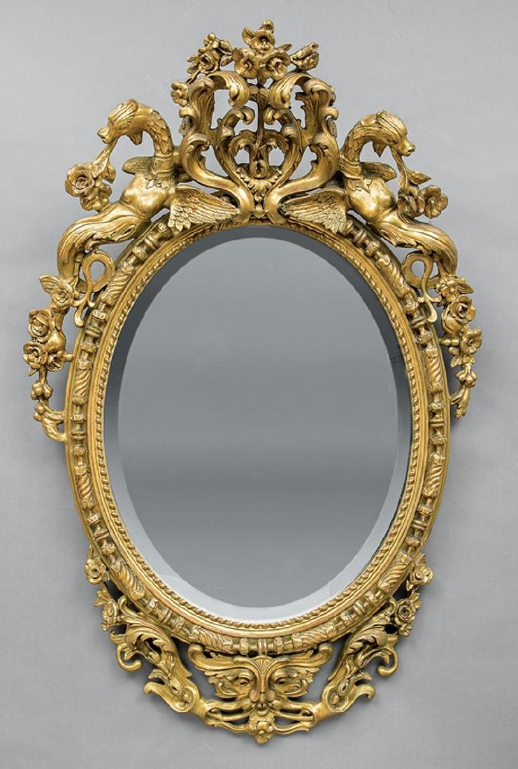 French Carved and Gilded Oval Mirror