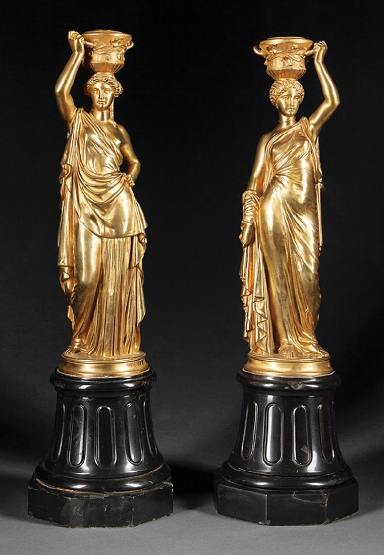 Napoleon III Gilt Bronze Classical Figures