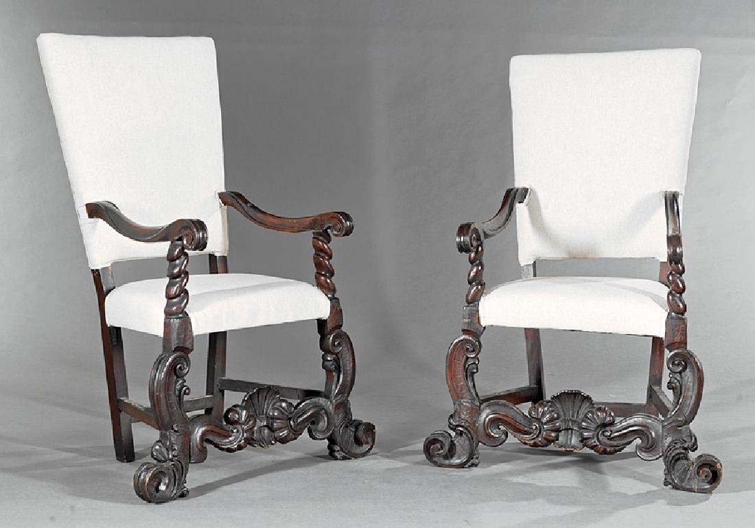 Pair of Continental Carved Walnut Armchairs
