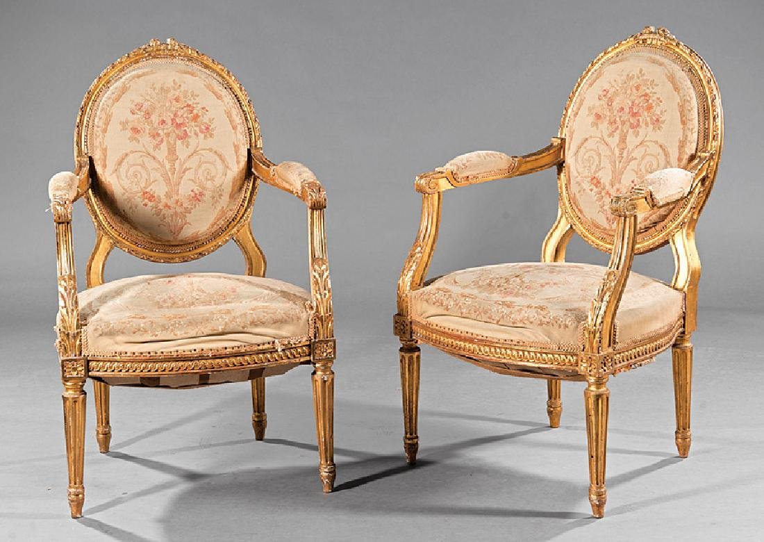 Louis XVI-Style Carved Giltwood Fauteuils