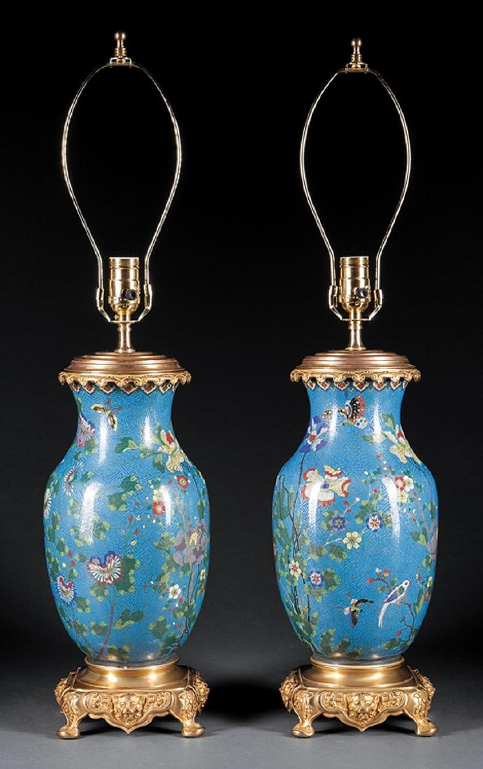 Bronze, Brass and Chinese Cloisonne Enamel Lamps