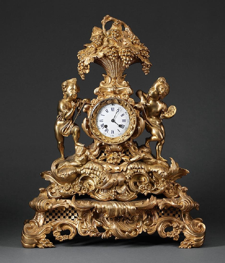 Napoleon III Gilt Bronze Mantel Clock