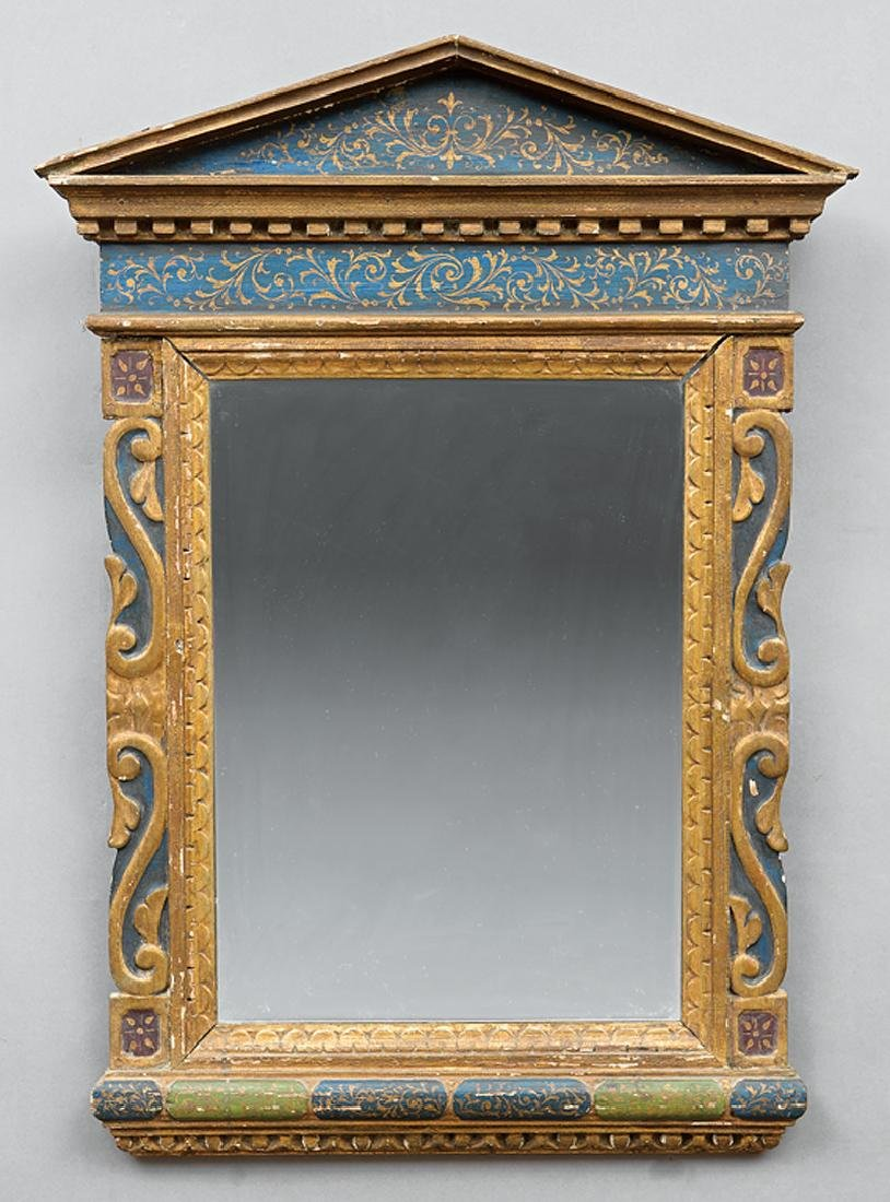 Venetian Polychrome and Parcel Gilt Mirror