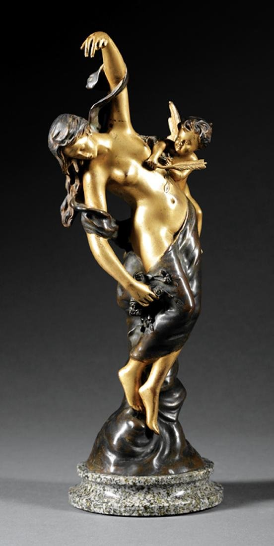 Gilt and Patinated Bronze Figural Amor and Psyche