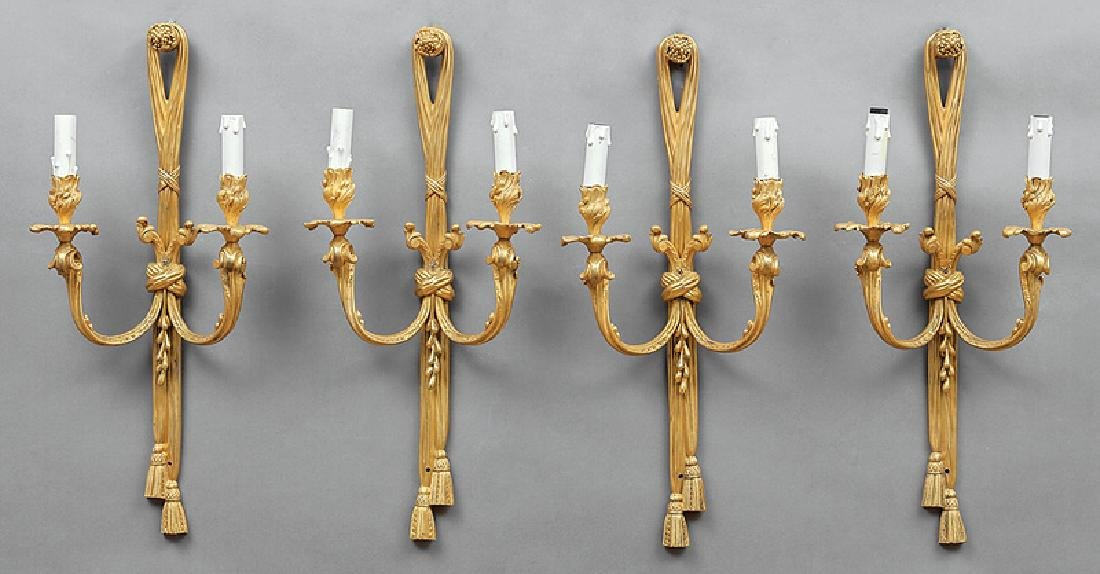 Four Empire-Style Gilt Bronze Two-Light Sconces
