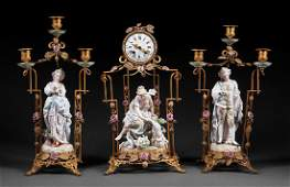 Porcelain-Mounted Gilt Bronze Clock Garniture