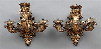 Pair of Italian Carved Giltwood Figural Sconces