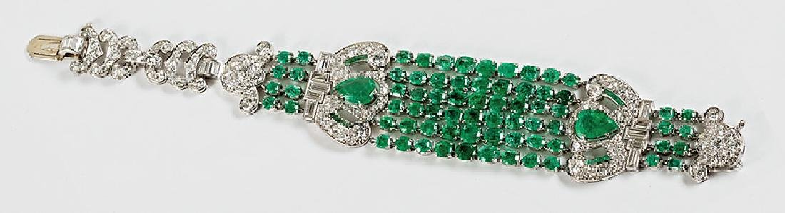 Art Deco-Style Emerald and Diamond Bracelet
