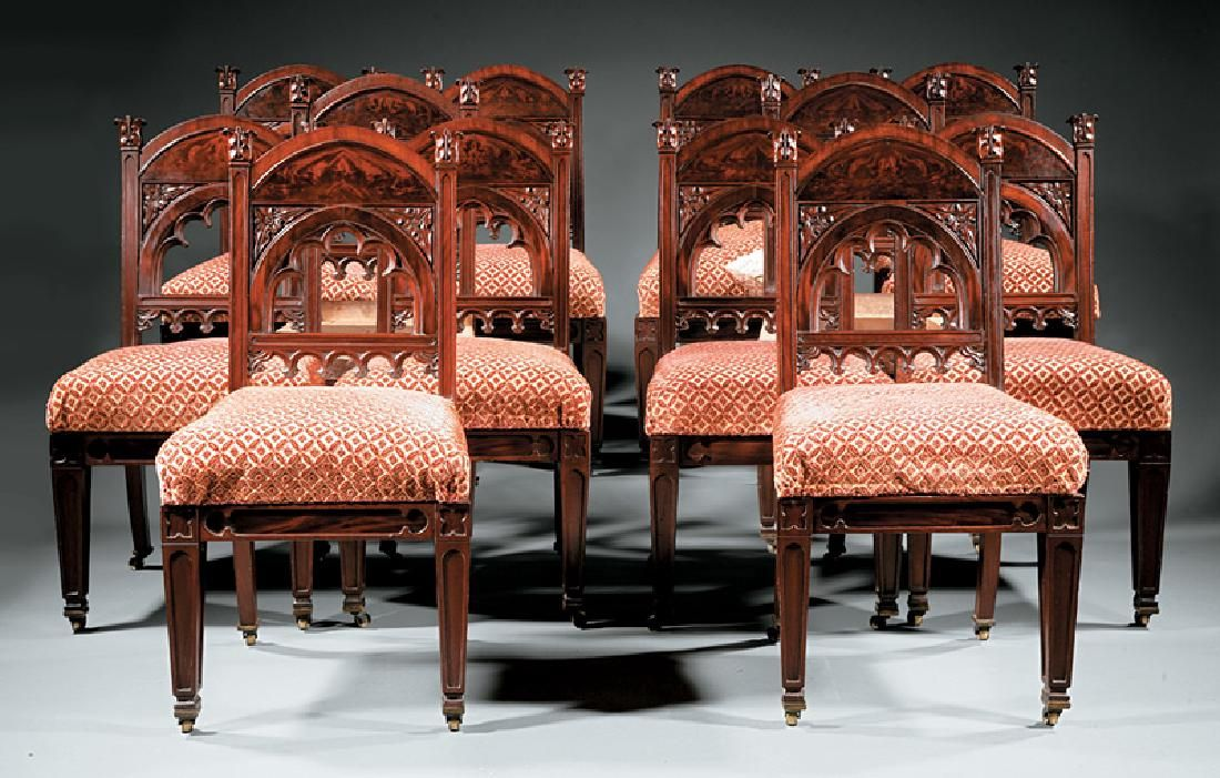 Carved Mahogany Dining Chairs, attr. Riddell