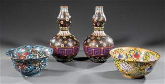 Chinese Cloisonne Enamel Vases and Two Bowls