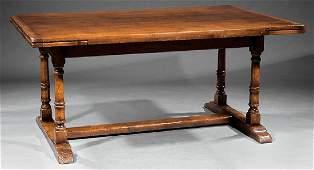 Carved Oak Draw-Leaf Dining Table