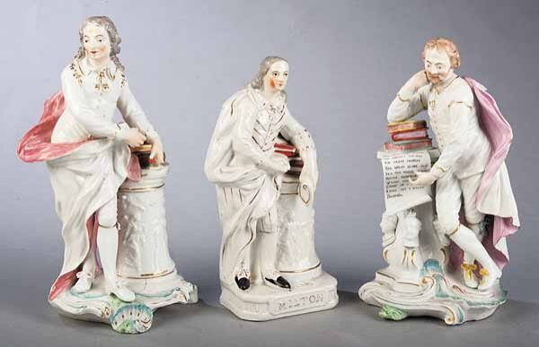 0009: Good Pair of English Porcelain Polychrome and G