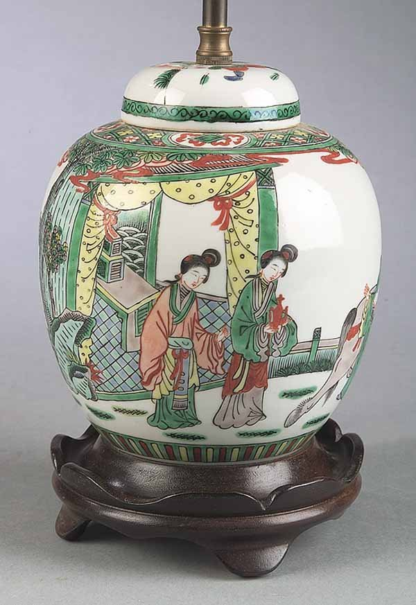 0011: Chines Famille Verte Porcelain Jar with Cover