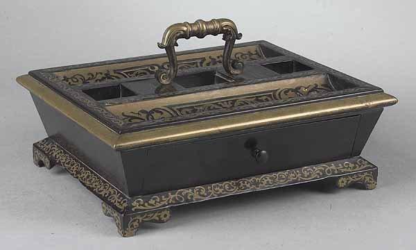 0014: Continental Ebonized and Brass Inlaid Standish