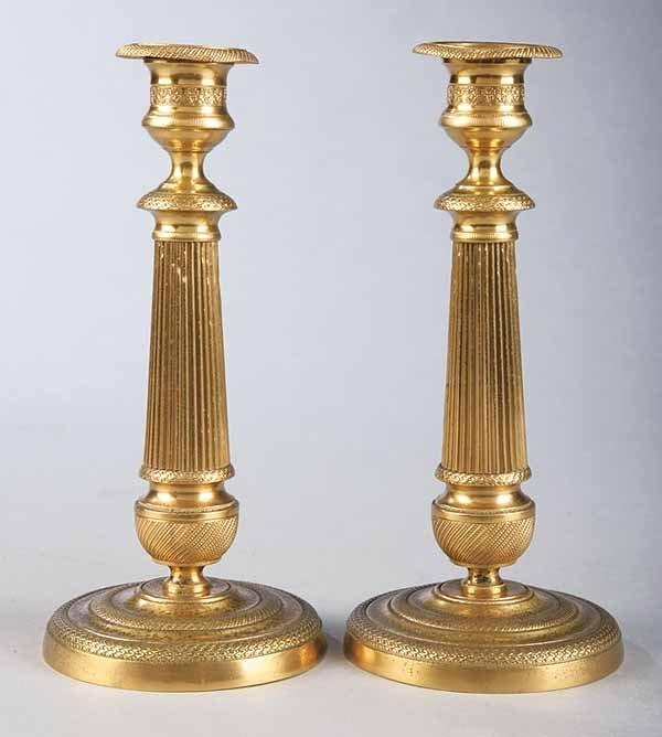 0015: Fine Pair of Bronze Dore Candelsticks
