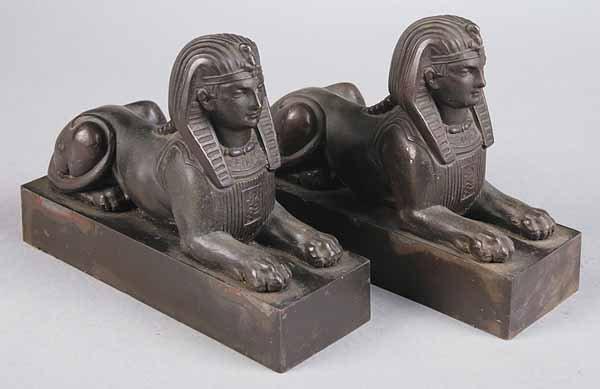 0016: Pair of Antique Continental Bronze Sphinx Figur