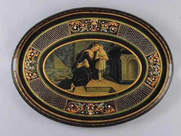 0017: Good Napoleon III Tole Peinte Oval Tray