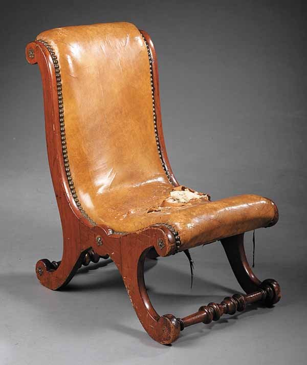 0022: William IV Mahogany and Leather Gout Stool