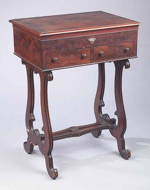 0024: Early Victorian Inlaid Mahogany Sewing Table