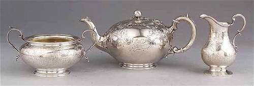 0209: Victorian Three Piece Sterling Silver Tea Servi