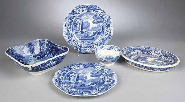 0751: Group of Antique English Blue and White Transfe