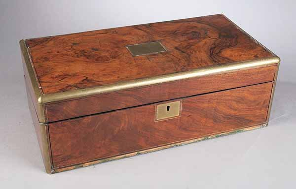 0752: Victorian Rosewood and Brass-Banded Writing Box