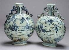 1145 Pair of Large Chinese Blue and White Porcelain