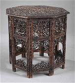 1221 Antique AngloIndian Carved Hardwood Side Tabl