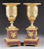 1244 Pair of Charles XStyle Gilt Bronze Urns