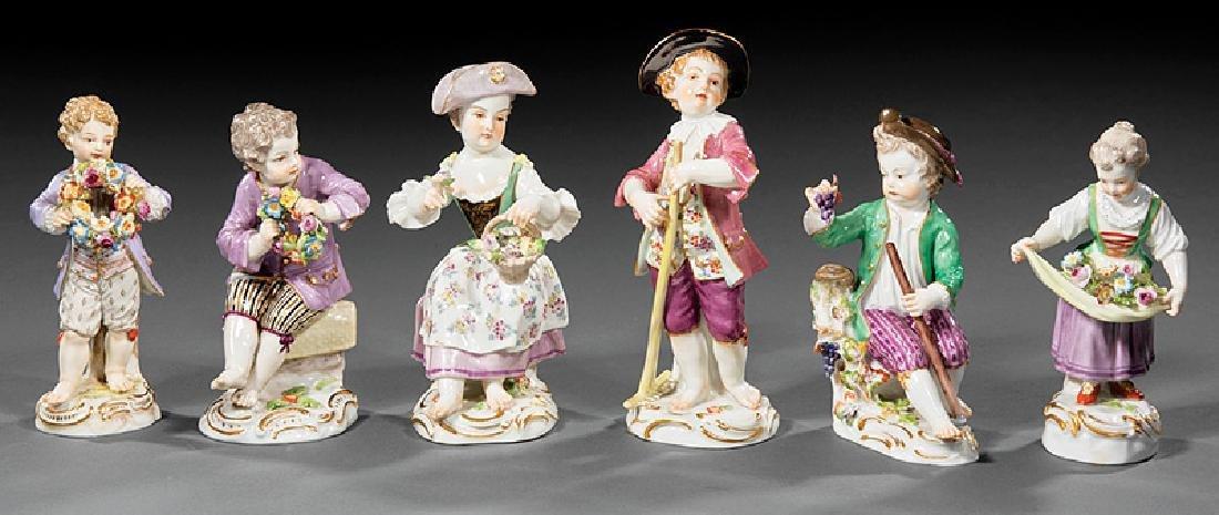 """Six Meissen Porcelain """"Garden"""" Children"""