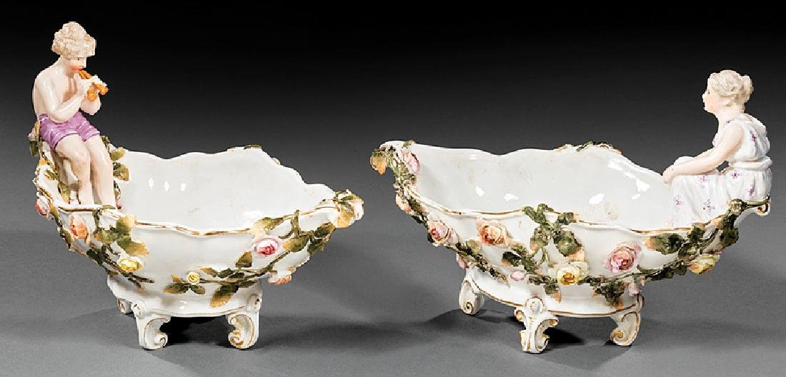 Sitzendorf Porcelain Figural Sweetmeat Dishes