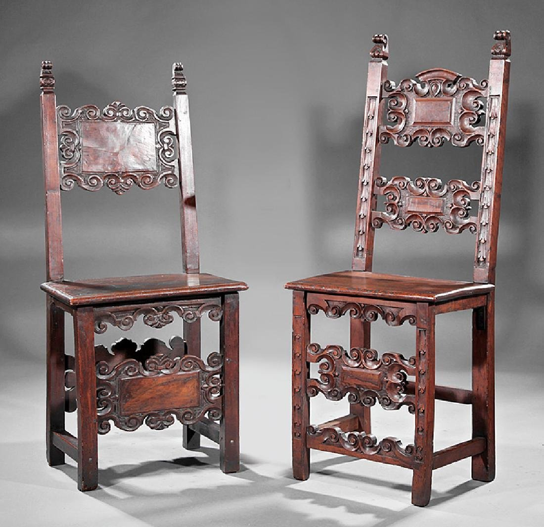 Italian Baroque-Style Carved Walnut Side Chairs