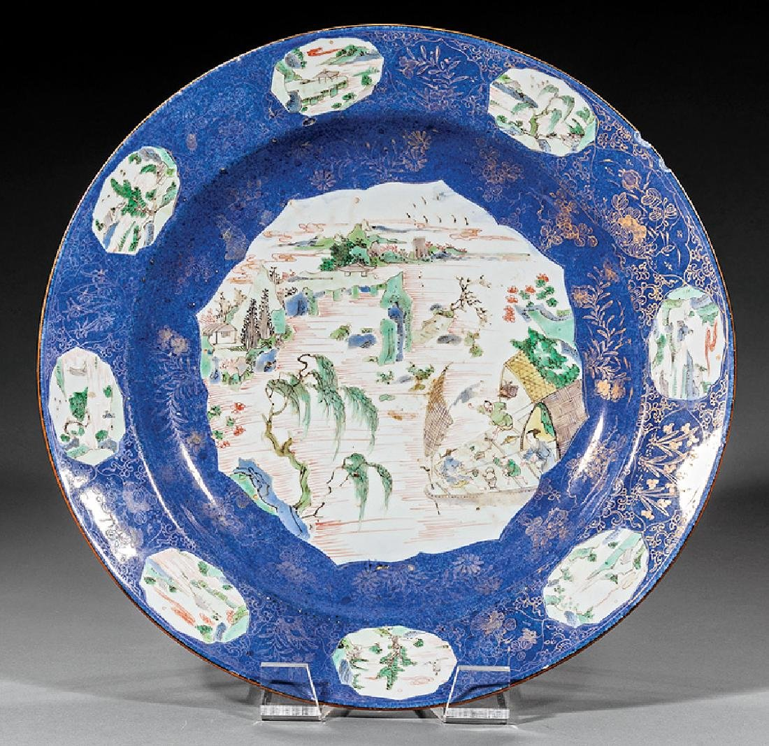 Chinese Famille Verte Decorated Porcelain Charger