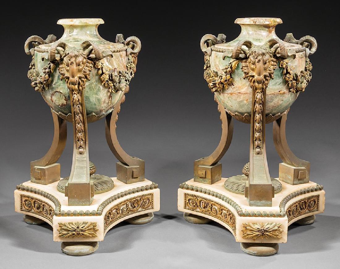 Napoleon III Bronze-Mounted Marble Cassolettes