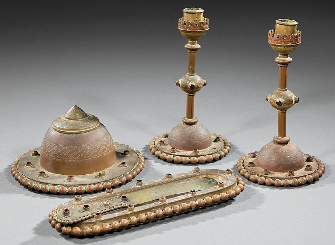 Aesthetic Movement Bronze and Bejeweled Desk Set