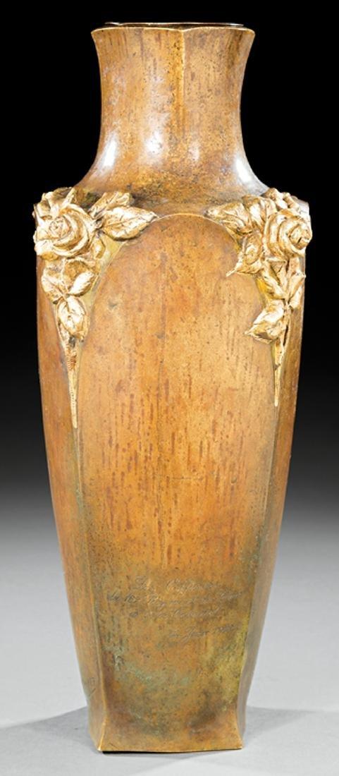 Art Nouveau Gilt and Patinated Bronze Vase