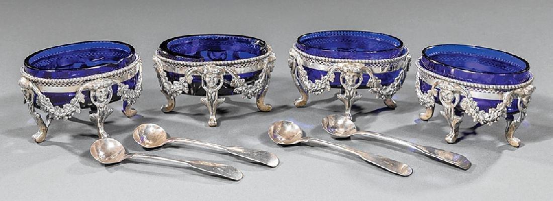 Continental Silver and Cobalt Glass Salt Cellars
