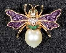 Gold Pearl Emerald Diamond Amethyst Bee Pin