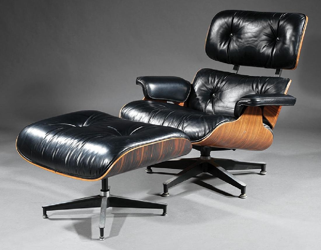 Charles and Ray Eames Rosewood Chair and Ottoman