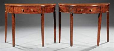 Inlaid Burled Walnut Demilune Console Tables