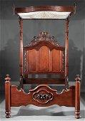 American Rococo Carved Mahogany Half-Tester Bed