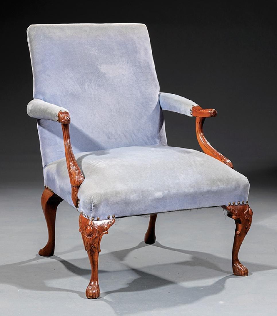 Georgian-Style Carved Mahogany Gainsborough Chair