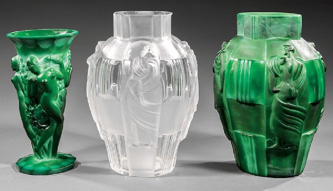 Three Czech Art Glass Vases